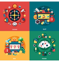 Casino games flat icons square composition vector