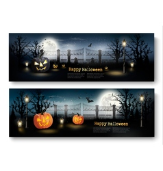 Holiday Halloween Banners with Pumpkins and Wooden vector image