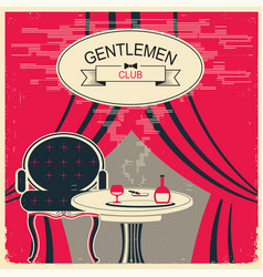 Gentlemen club red room with table and vector