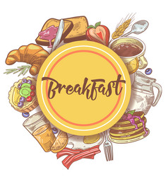 Healthy breakfast hand drawn design with eggs vector