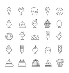 Desserts thin line icons vector