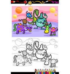 Cartoon fantasy group coloring page vector