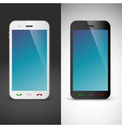 Mobile phone on black and white background vector