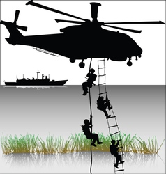 Landing of helicopters vector