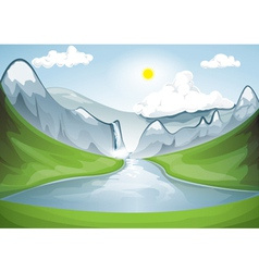 Mountain valley in a sunny day vector