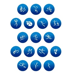 Blue round icons with white sportsman silhouettes vector