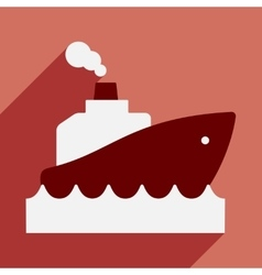 Flat with shadow icon and mobile application boat vector
