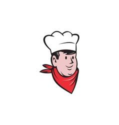 Chef cook baker head scarf cartoon vector