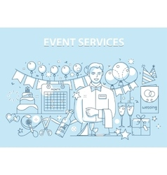 Line style design concept of special event and vector