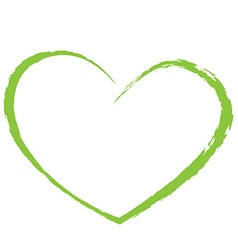 Green heart drawing love valentine vector