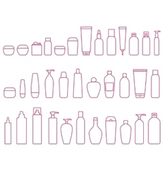 Linear set of cosmetic bottle vector