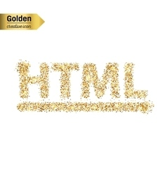 Gold glitter icon of html symbol isolated vector