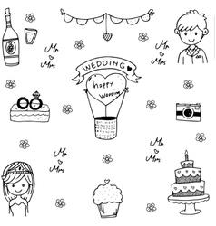 Doodle art wedding vector image