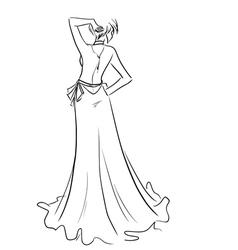 Beautiful lady in long dress vector
