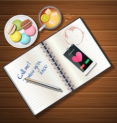 Book and mobile phone with iced tea and macaroons vector