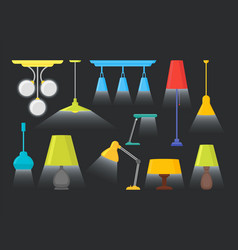 Cartoon home illumination lamp color set vector
