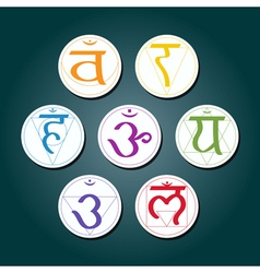 Color icons with names of chakras in sanskrit vector