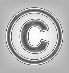 Copyright sign pencil sketch vector