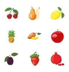 Farm fruits icons set cartoon style vector image vector image