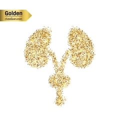 Gold glitter icon of renal system isolated vector image