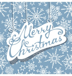 Hanging text Merry Christmas on blue background vector image vector image