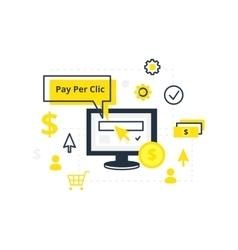 Internet marketing advertising concept in line vector