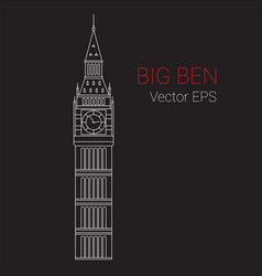 line icon of big ben tower london vector image vector image