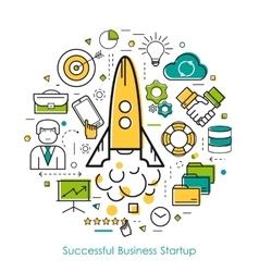 Lineart concept business start up vector