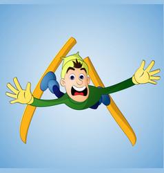 man falling in ski jump vector image vector image