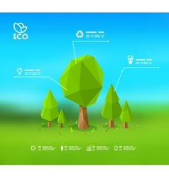 Modern infographic design with lowpoly tree eps 10 vector