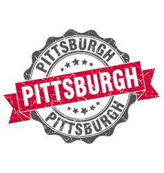 Pittsburgh round ribbon seal vector