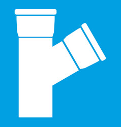 Plastic pipe connection icon white vector