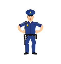 police officer angry emoji isolated policeman vector image