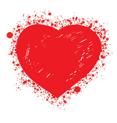 red hot sketch heart vector image vector image