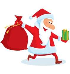 santa with a bag and gifts vector image vector image