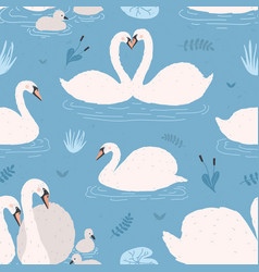seamless pattern with white swans singles and vector image vector image