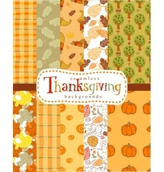 Seamless thanksgiving backgrounds vector image vector image