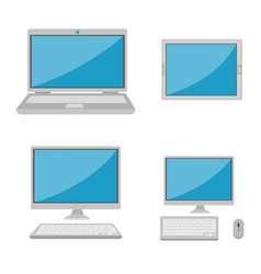 set of computers electronic device vector image