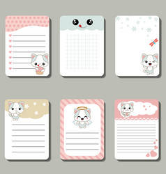 Set of cute creative cards with cats set of cute vector
