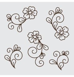 set of flower elements vector image