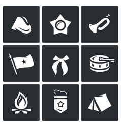 Set of soviet organization pioneer icons vector