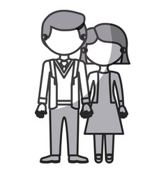 silhouette monochrome shading faceless couple vector image vector image