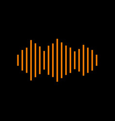 Sound waves icon orange icon on black background vector