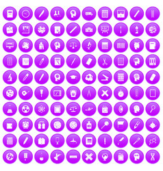 100 learning icons set purple vector