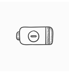 Low power battery sketch icon vector