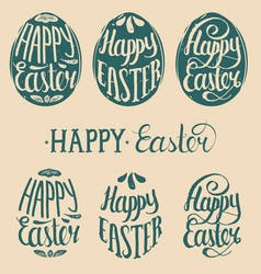 Happy easter type cards in the egg shape vector