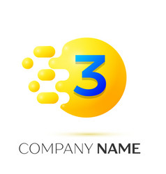 number three splash logo yellow dots and bubbles vector image