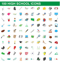100 high school icons set cartoon style vector