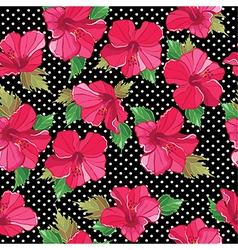 Floral seamless pattern with hibiscus hand-drawing vector