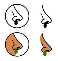 Human nose snot booger cold symbols vector